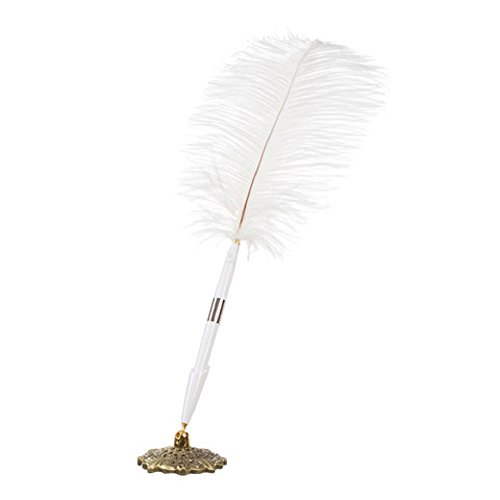 Darice White Feather Pen with Decorative Base Holder – Black Ink Ballpoint Pen – Gold Metal Antique Base Can Be Angled – Plume Pen is Elegant Touch Next to Guest Book at Weddings and Special Events