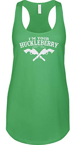 Blittzen Womens Tank Im Your Huckleberry, L, Green -