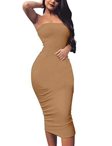 - BORIFLORS Women's Basic Sleeveless Tube Top Sexy Strapless Bodycon Midi Club Dress,Large,Khaki