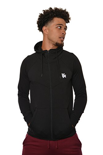 Front Pocket Zip Hoodie - YoungLA Men's Cotton French Terry Tech Fitted Hoodie Zip-up Running Bodybuilding Long Sleeve 505 Black Medium