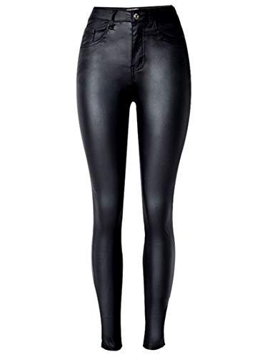 - Capturelove Womens Sleek PU Coated Stretchy Pants Leather Look Skinny Jeans - 6