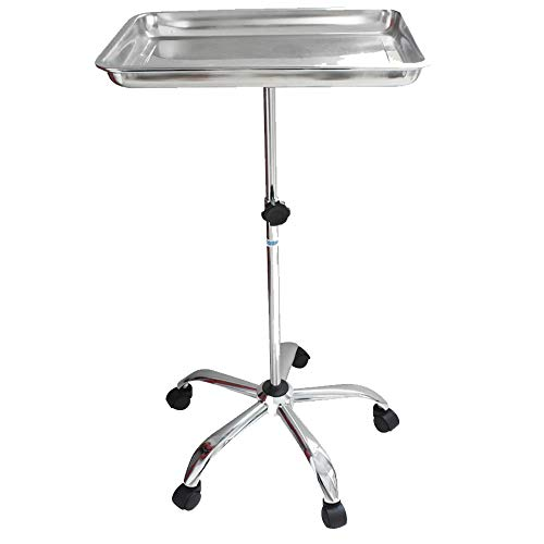(Konmee Mayo Instrument Stand with Mobile 5 Caster Base Mobile Medical Doctor Tattoo Spa Salon Service Instrument Procedure Trays with Lift Out Work Tray)