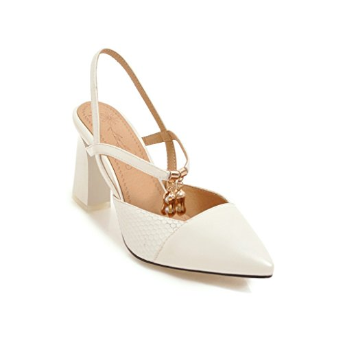 spell versatile thick heeled with Baotou high and shoes sandals white female Tip color RCq8O8