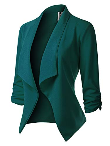 MixMatchy Women's [Made in USA] Classic 3/4 Gathered Sleeve Open Front Blazer Jacket (S-3XL) Hunter Green 1XL