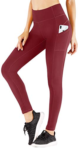 (Heathyoga Yoga Pants High Waist Leggings for Workout Running & Yoga, Super Soft and Non See-Through Fabric (H7530 Wine, X-Large))