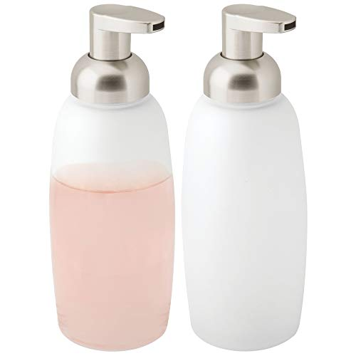 (mDesign Modern Glass Refillable Foaming Soap Dispenser Pump Bottle for Bathroom Vanities or Kitchen Sink, Countertops - 2 Pack - Frost with Satin Pump Head)