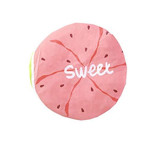 (IslandseCute Cartoon Fruit Pattern Waterproof Shower Cap Adult Shower Cap Bathing Cap (Watermelon Red))