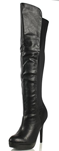 Delicious Women's Venga Faux Leather Over The Knee High Heel Boots, Black, 8 M US