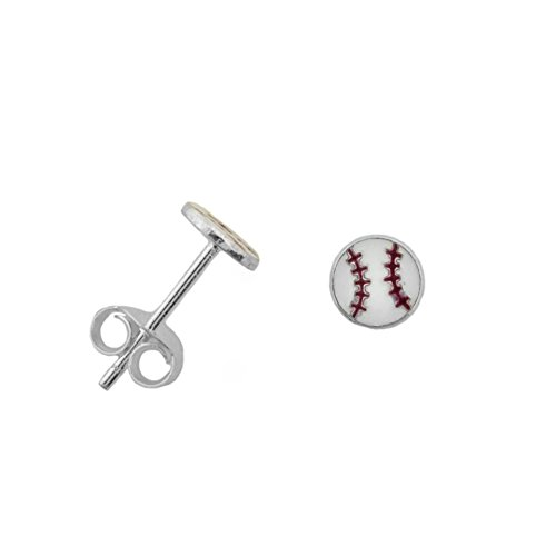 Sterling Silver Baseball Post Earrings - 7