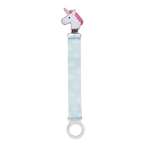 C.R. Gibson White and Pink Unicorn Baby Pacifier Clip for Babies, 2pc, 8.5'' L x 1'' W -