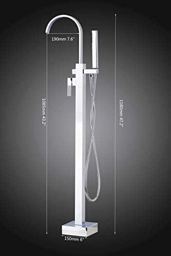 BZM-ZM こんにちは、浴室の滝バスタブTorneiraシャワー蛇口セットフロアはクロームポリッシュ盆地シンク真鍮タップミキサー蛇口、ホワイトマウント