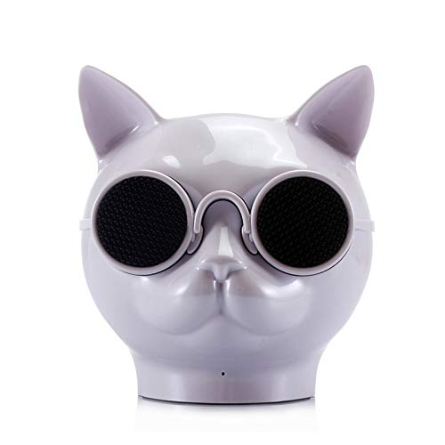 RONSHIN Portable Bluetooth Speakers,Fashion Cool Cat Head Portable Speaker Wireless Bluetooth Stereo Speaker HD Bass Speaker White by RONSHIN