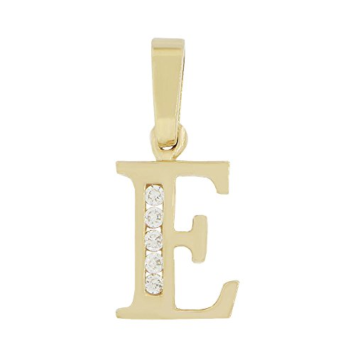 14k Yellow Gold, Small Initial Capital Letter E Pendant Charm Created CZ 11mm Wide by GiveMeGold