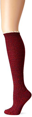K. Bell Socks Women's Random Feed Cable Knee High, Biking Red, 9 -11 (Bell Trading Post)