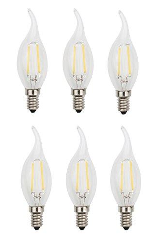 JCKing (Paquet de 6) AC 220V 2W E14 Dimmable LED Filament Bulbs Bougie Flame tip LED Ampoule, LED Vintage Antique Chandelier Light Warm White 2700K