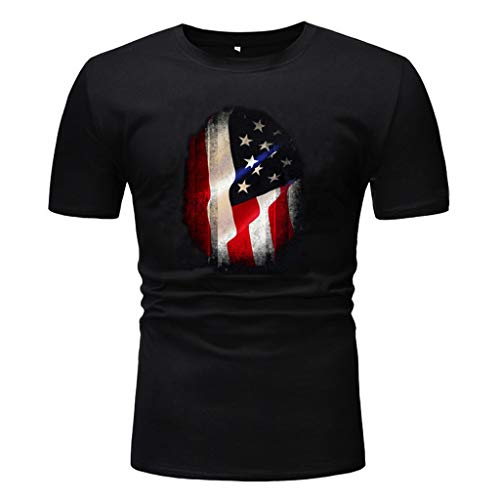 - Nuewofally Mens T-Shirts Graphic Tees Black Slim Fit Tunic Top Independent Day Flag Print Top Blouses
