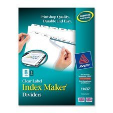 Avery 11428 Index Maker Print & Apply Clear Label Dividers w/White Tabs, 12-Tab, Letter