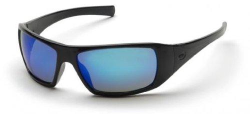 (12 Pair) Pyramex SB5665D Goliath Safety Glasses Black with Ice BLU -e Mirror Lens