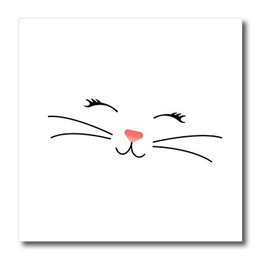 3dRose Charlyn Woodruff - CW Designs Whimsical Collection - Too Cute White Kitty Cat Face Nose and Whiskers - 8x8 Iron on Heat Transfer for White Material (Cat Face Design)