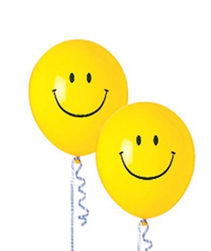 Smiley Face Latex Balloons Package of -