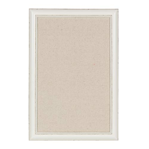 DesignOvation Macon Framed Linen Fabric Pinboard, 18x27, Soft White]()