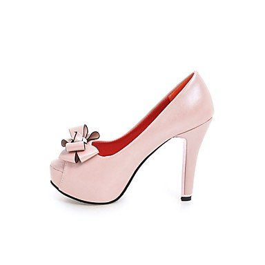 pwne La Mujer Tacones Zapatos Club Polipiel Primavera Otoño Casual Bowknot Stiletto Talón Rubor Rosa Negro Blanco 4A-4 3/4 Pulg. US8 / EU39 / UK6 / CN39
