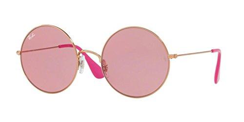 Ray Ban Womens Metal Woman Non Polarized Iridium Round Sunglasses  Rb3592   Shiny Copper Pink Dark Mirror Red  55 Mm
