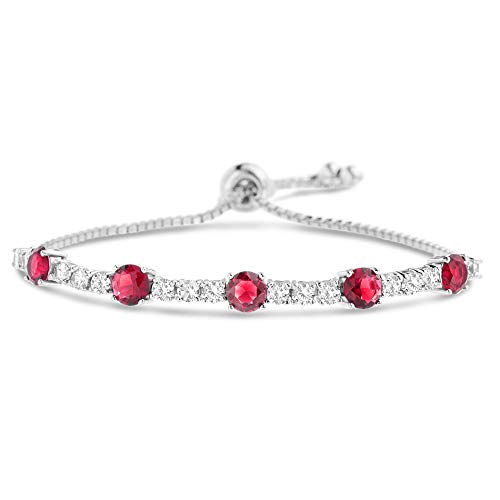 MIA SARINE Round Simulated Ruby and CZ Adjustable Bolo Tennis Bracelet for Women in Rhodium Plated 925 Sterling Silver -