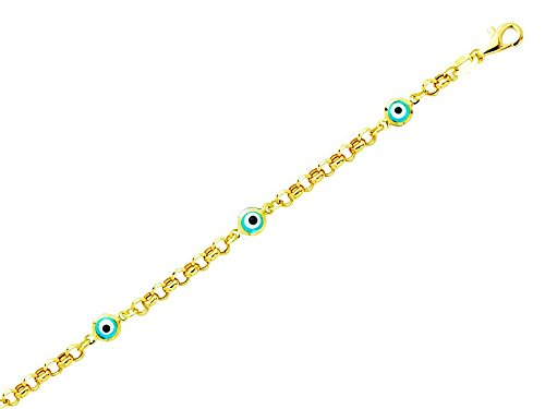 Finejewelers 14k Yellow Gold 5.5 Inch Rolo Link Chain with Station Evil Eye Childrens Bracelet ()