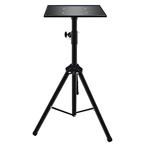 Topfoison Portable Projector Table Stand with Shelf Tripod Projector Height-Adjustable Multi-Function Studio Metal Stand Mount Holder Speaker Mount ()
