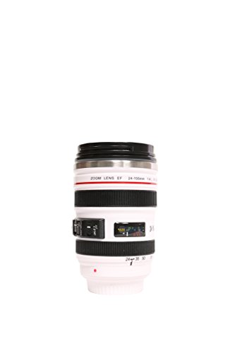 The Classic Camera Lens Travel Coffee or Tea White Mug - 24-105mm Lens Thermos with Clear Drinking Lid Stainless Steel W/leak-Proof Transparent Lid (White, 13.5oz) (Classic White Mug Coffee)