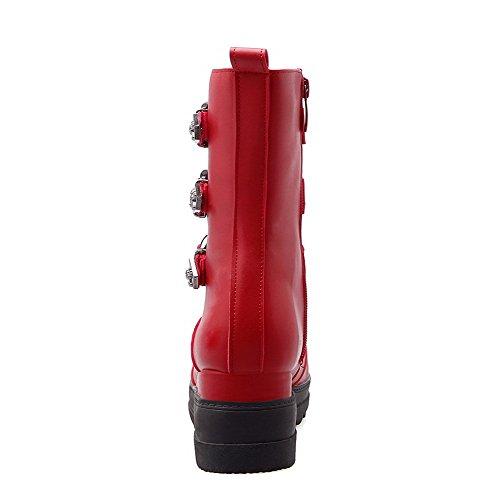 AllhqFashion Damen Mittler Absatz Weiches Material Niedrig-Spitze Rein Stiefel Rot