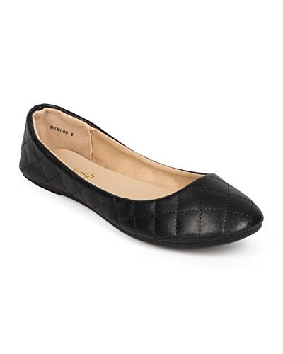 Refresh Women Quilted Leatherette Round Toe Slip On Ballet Flat EE11 - Black (Size: 6.0)