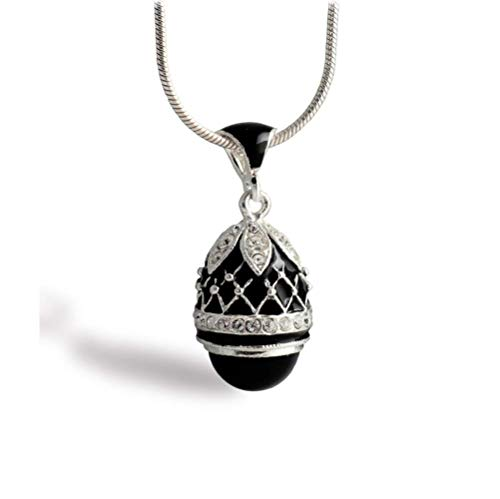 Enameled Black Pendant with Onyx Stone 925 Sterling Silver Jewelry Necklace for Women Gothic Egg Pendant with - Crystal Enameled