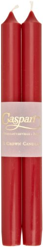 Entertaining with Caspari 10-Inch Taper Dripless, Smokeless, Unscented Candles, Cranberry, Set of 2 (Candles Tapers)