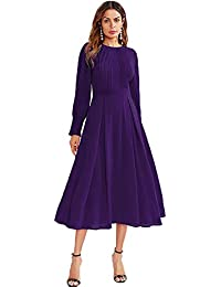 Women's Elegant Frilled Long Sleeve Pleated Fit & Flare...