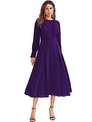 Milumia Women's Elegant Frilled Long Sleeve Pleated Fit & Flare Dress (Medium, Purple)