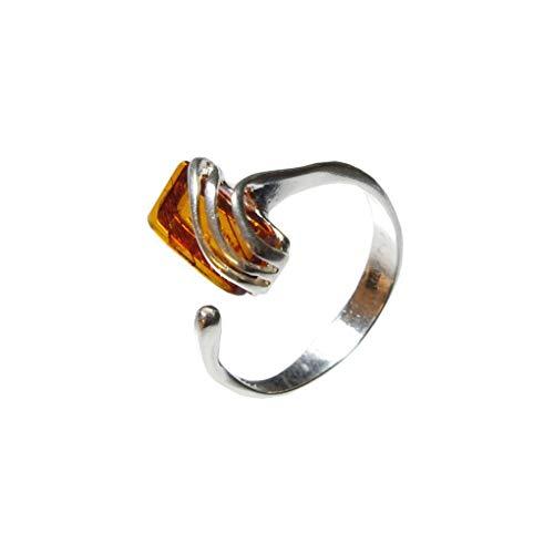 HolidayGiftShops Rectangular Baltic Honey Amber Sterling Silver Adjustable Ring Nina