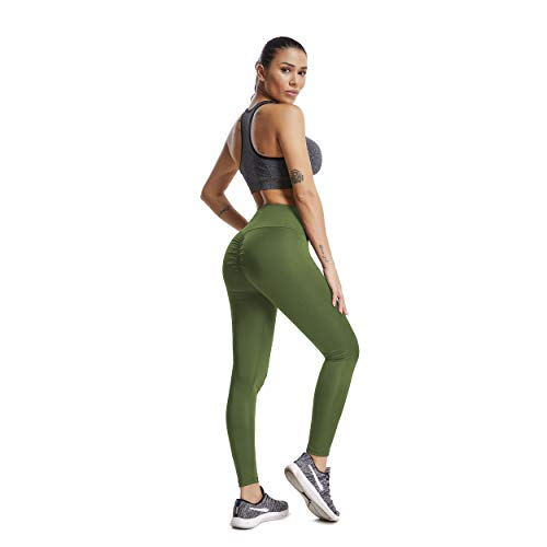 2b2cf34f7262f RIOJOY Yoga Pants for Women Ruched Butt Compression Fitness Leggings Butt  Lift High Waist Stretchy Workout