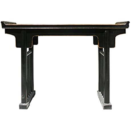 Chinese Ancient Design Black Lacquer Elm Wood Altar Table Amh285