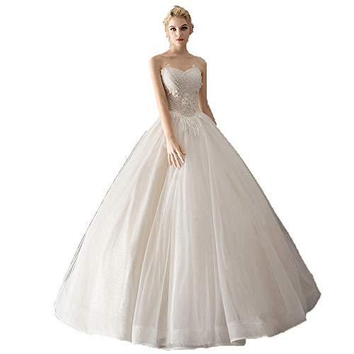 Sviper-clothing Elegant Wedding Dress Women Strapless Sweetheart Beaded Floral Lace Ball Gown Bridal Wedding Dress Corset Bodice Tulle Princess Bride Dress Formal Evening Prom Dress Evening Dress