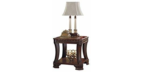 Ashley Furniture Signature Design   Ledelle End Table   Vintage Style   Square   Brown