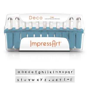 ImpressArt Deco Lowercase Letter Metal Stamps Set, 1.5mm - Copper Metal Stamp Pad