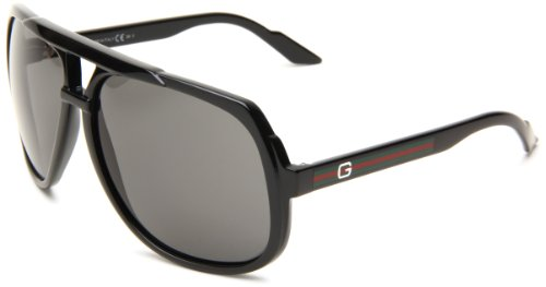 Gucci 1622/S Aviator Sunglasses,Shiny Black Frame/Grey Lens,