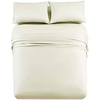 Abripedic Solid 600-Thread-Count, 100-Percent Tencel Lyocell, 4PC Split Top-California King Sheets Set for Adjustable Beds, Ivory