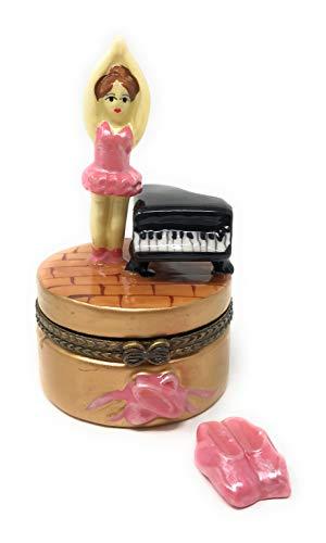 Art Gifts Ballerina & Piano Hinged Treasure Trinket Box with Tiny Ballet Shoes ()