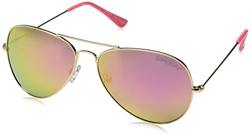 Lilly Pulitzer Women's Lexy Polarized Aviator Sunglasses, Shiny Gold/Hot Pink, 59 - Sunglasses 2017 Hot