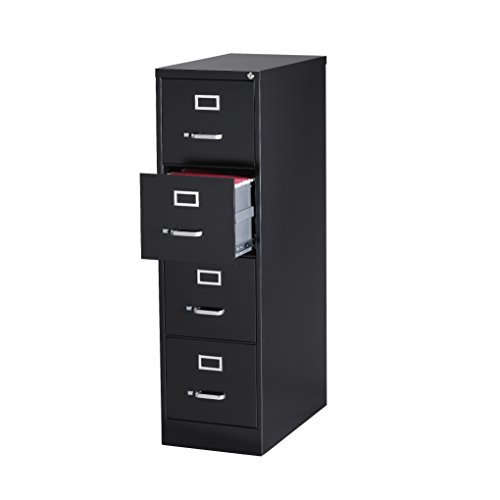 Office Dimensions Commercial 4 Drawer Letter Width Vertical File, 25-Inch Deep, Black