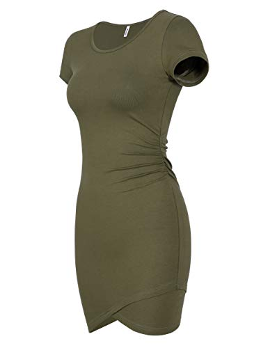 Missufe Women's Summer Short Sleeve Fitted Ruched Bodycon Irregular Mini Sheath Dress (Army Green, Small)