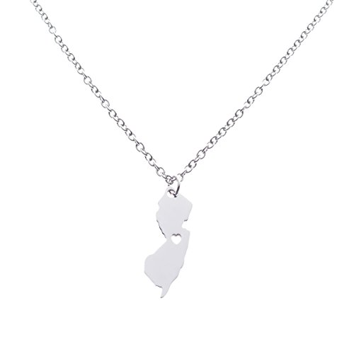Charm Heart Pendant Metal Engraved (Silver Charm Necklace for Teen Girls Engraved Stainless Silver Pendant Heart Jewelry New Jersey State)